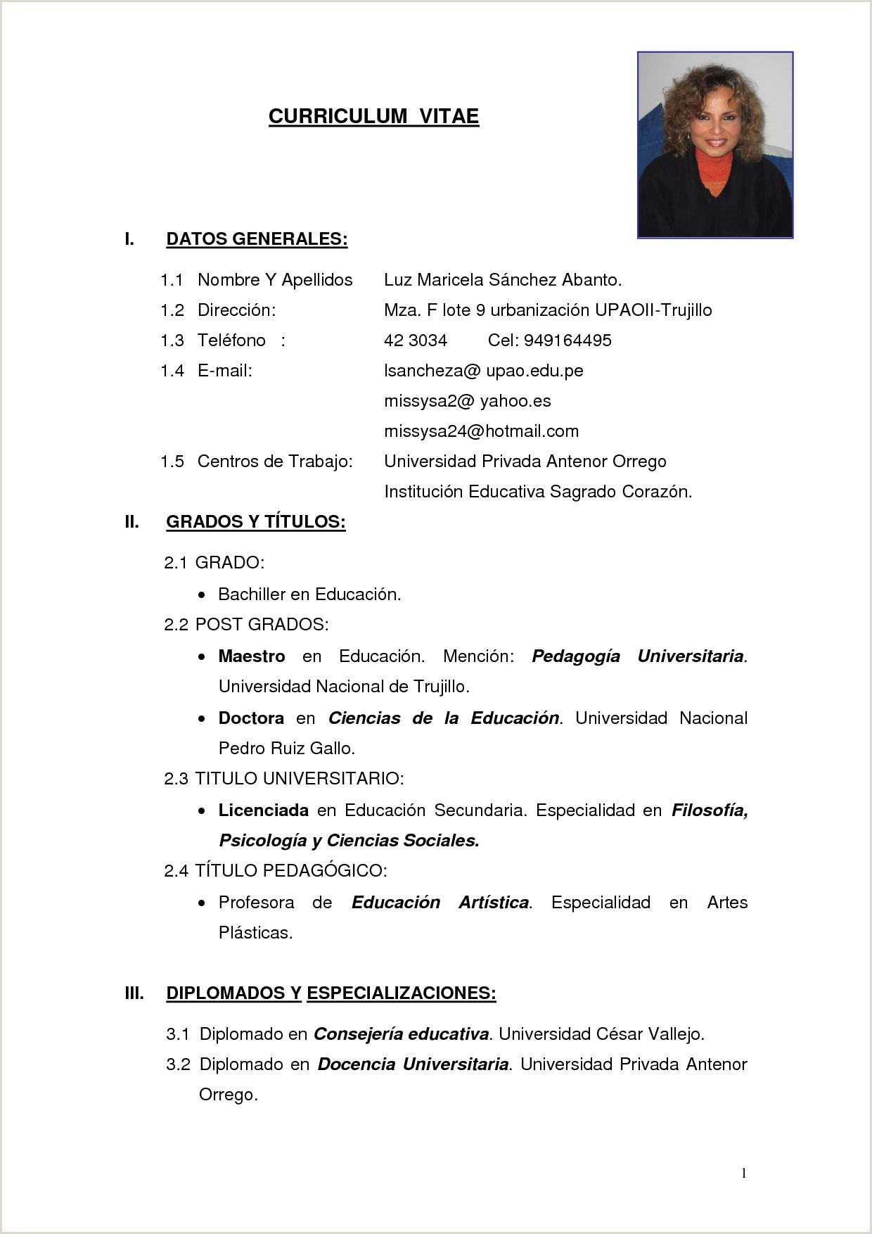 Formato De Hoja De Vida Bachiller Resultado De Imagen Para Curriculum Simple Fg