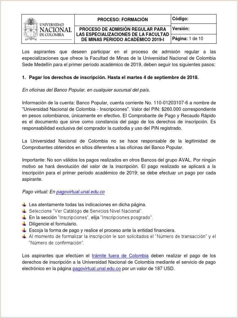 Formato De Hoja De Vida Bancolombia Instructivo Para La Admisi³n A Las Especializaciones De La