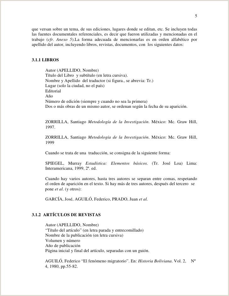 Formato De Hoja De Vida Bolivia normas De Presentacion Proyecto De Grado