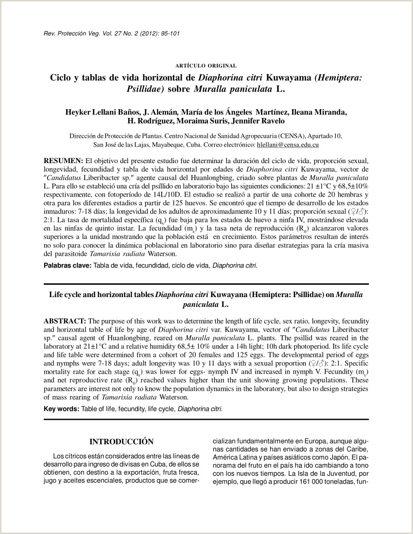 PDF Ciclo y tablas de vida horizontal de Diaphorina citri