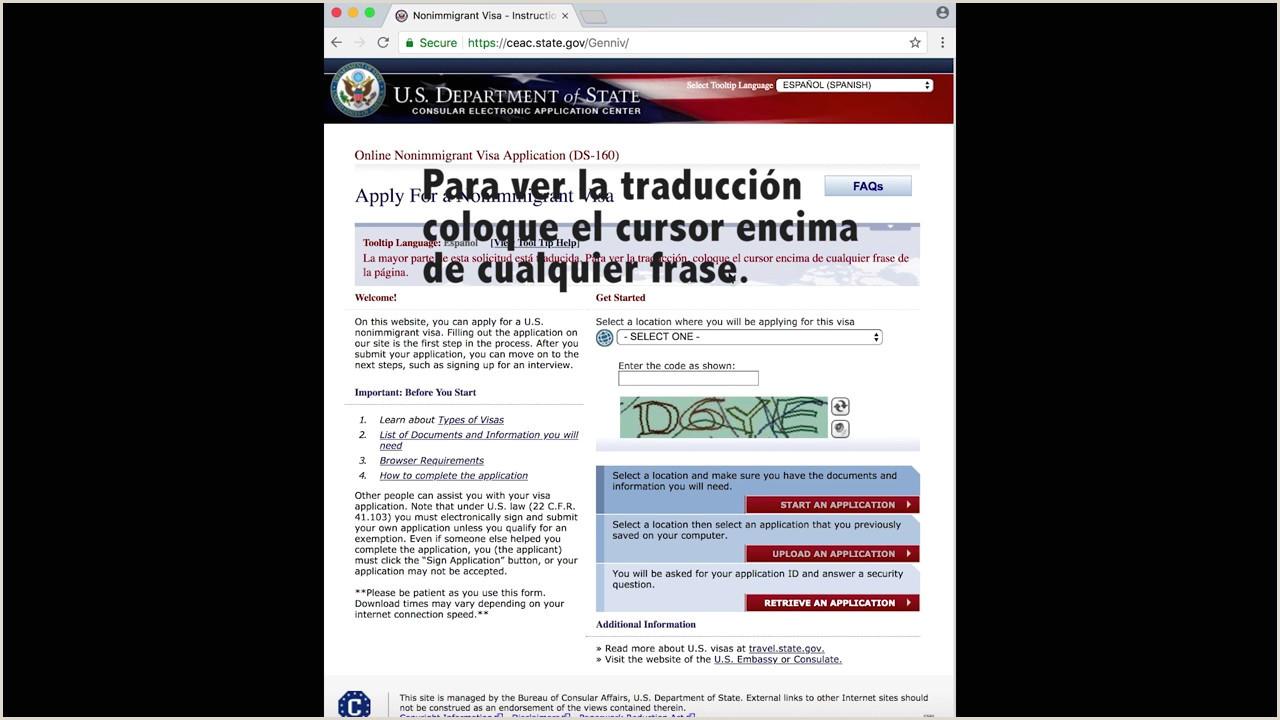 Formulario DS 160 Tutorial en Espa±ol 2018 Visa de Turista USA Parte Uno