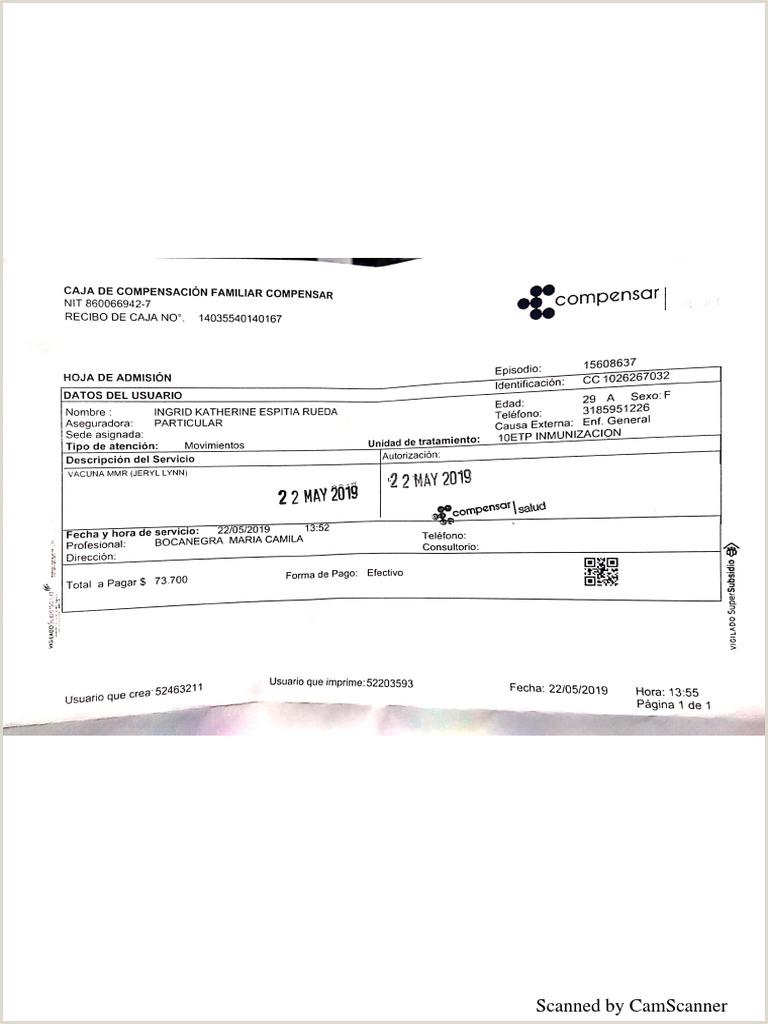 Formato De Hoja De Vida Compensar Vacunaci³n Ingrid Espitia
