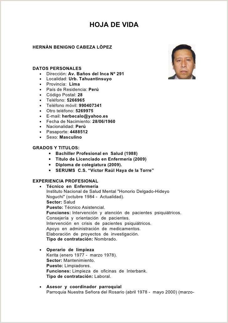 Modelo De Curriculum Vitae Operario Modelo de Curriculum Vitae