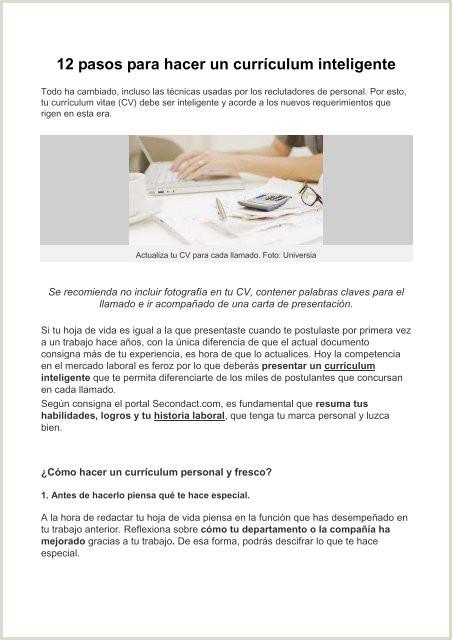 Formato De Hoja De Vida Curriculum Vitae Pdf] 12 Pasos Para Hacer Un Currculum Inteligente