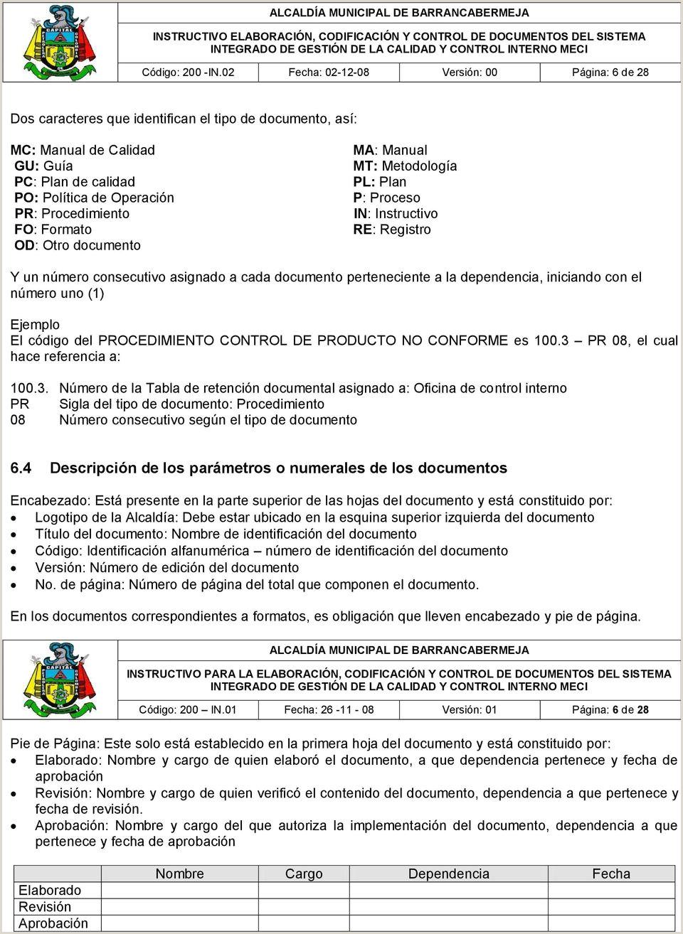 """INSTRUCTIVO ELABORACI""""N CODIFICACI""""N Y CONTROL DE"""