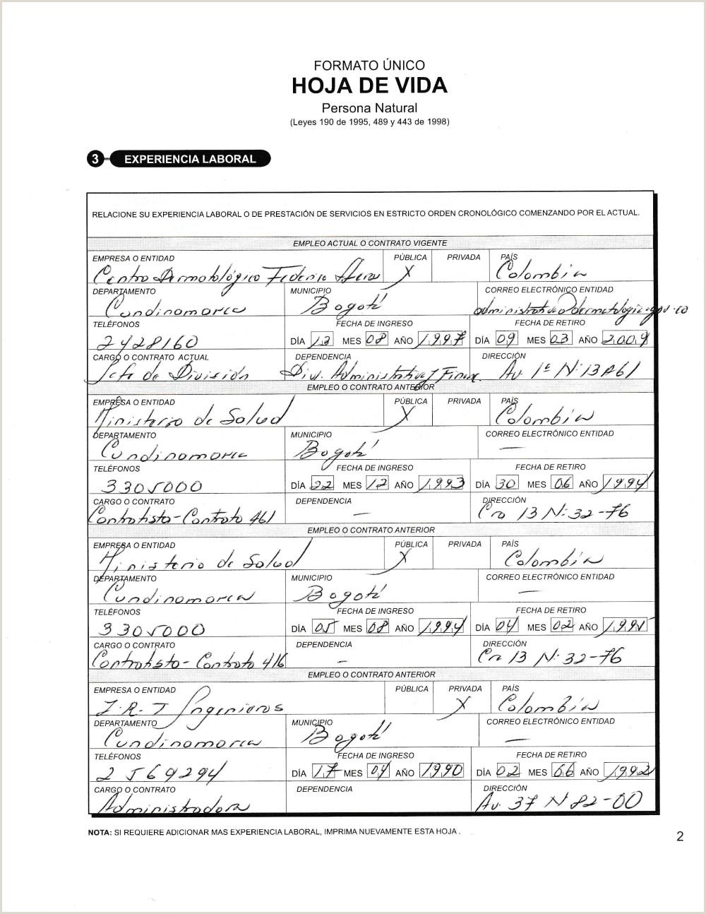 Formato De Hoja De Vida De La Funcion Publica Documentos Funci³n Pºblica