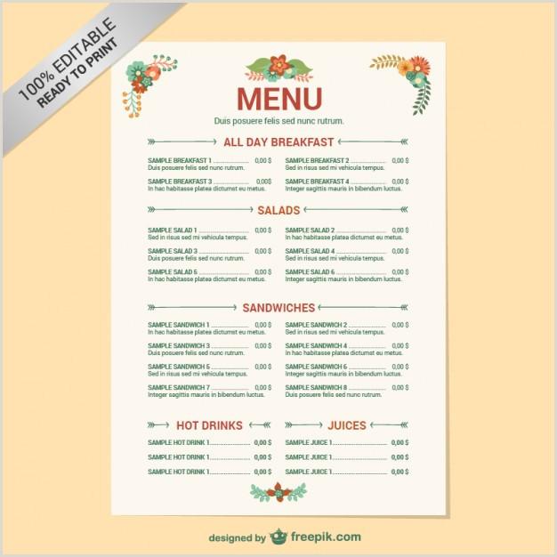 Plantilla editable de carta de restaurante
