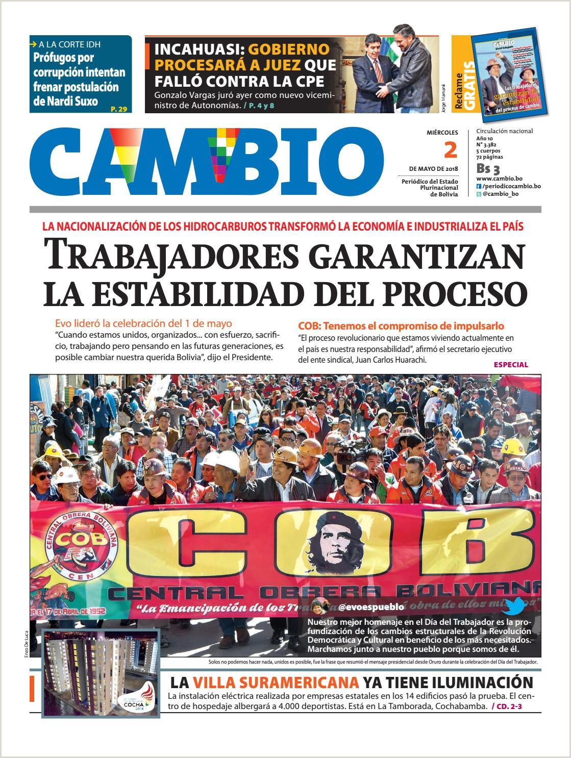 Formato De Hoja De Vida En Bolivia Edicion Impresa 02 05 18 by Cambio Peri³dico Del Estado
