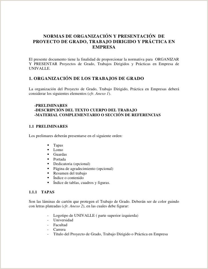 Formato De Hoja De Vida En Bolivia normas De Presentacion Proyecto De Grado