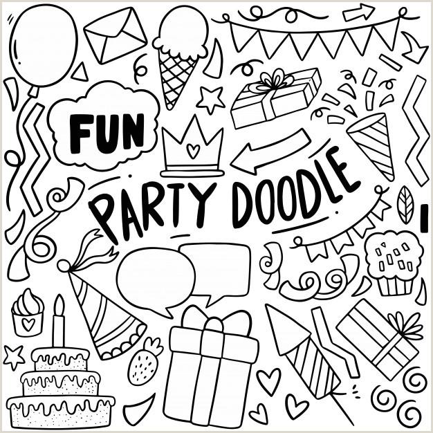Dibujado a mano fiesta doodle feliz cumplea±os adornos
