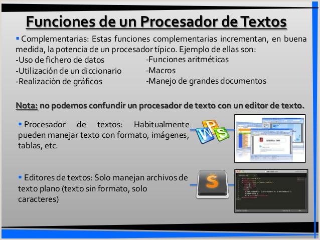 Procesadores de texto hojas de calculo navegadores y bases