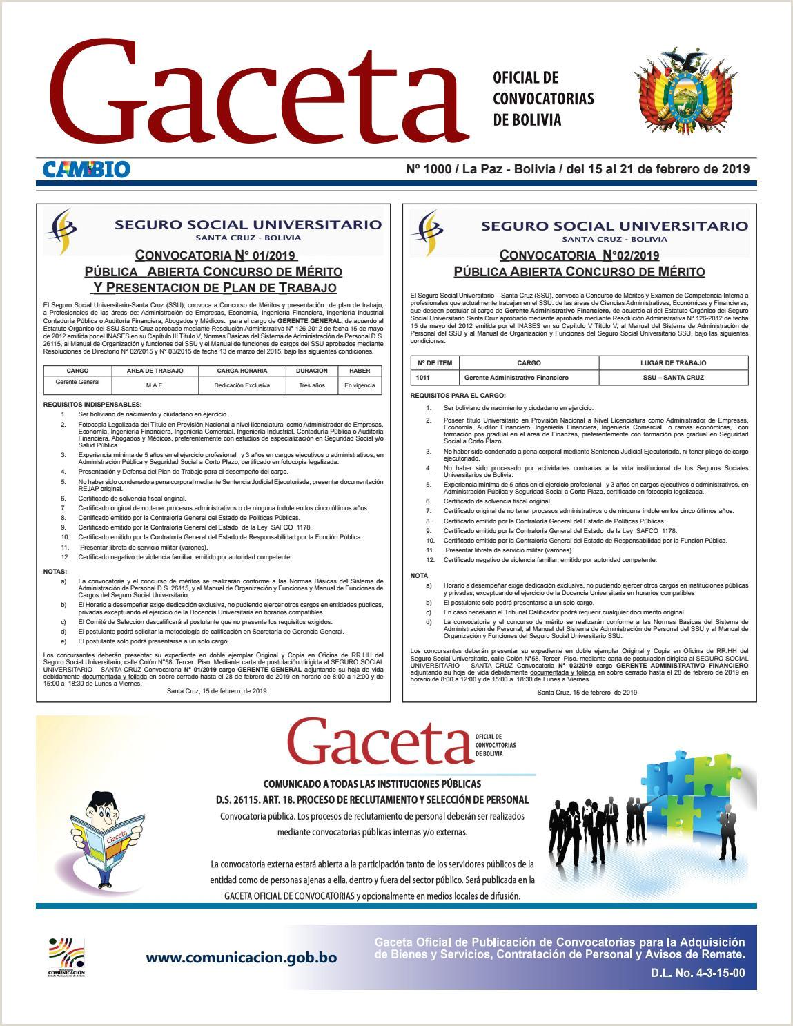 Gaceta icial de Convocatorias Edici³n Nº 1000 by Cambio