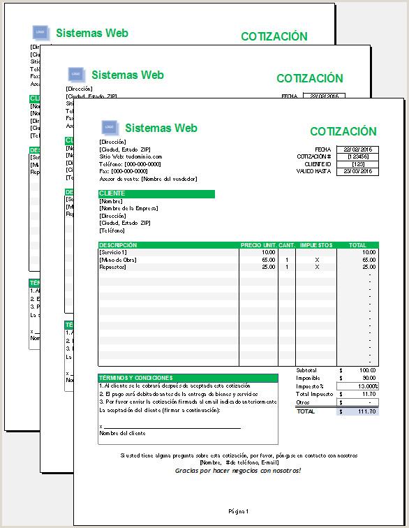 Plantilla de cotizaci³n Excel – Plantillas Gratis
