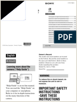 Sony Alpha A77II Instruction Manual Multi Language