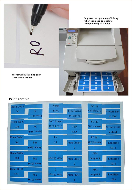 Mr Label 10 hojas 300 etiquetas Autoadhesivo Etiqueta del cable a prueba de agua Resistente a la rotura