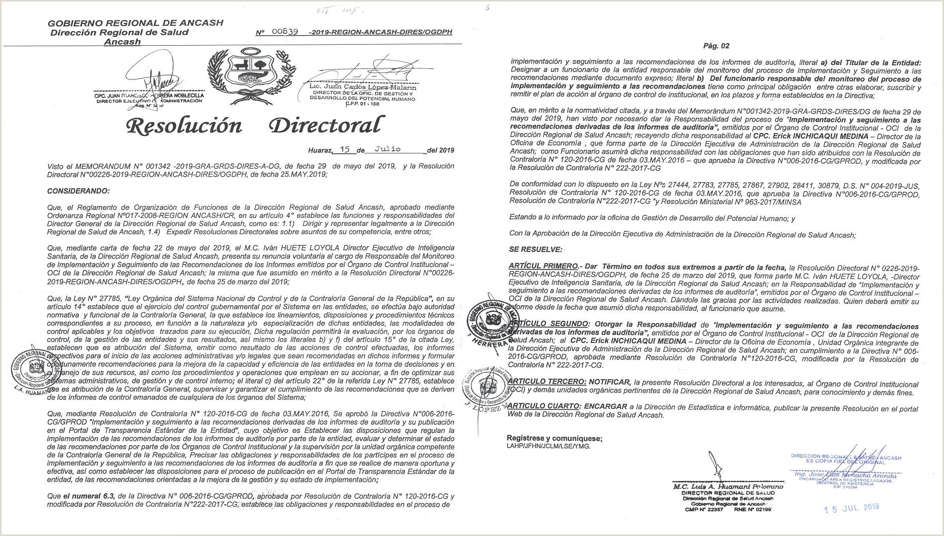Formato De Hoja De Vida Gestion Publica Direcci³n Regional De Salud Ancash