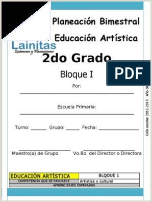 Formato De Hoja De Vida Gratis 2do Grado Bloque 1 Educaci³n Artstica
