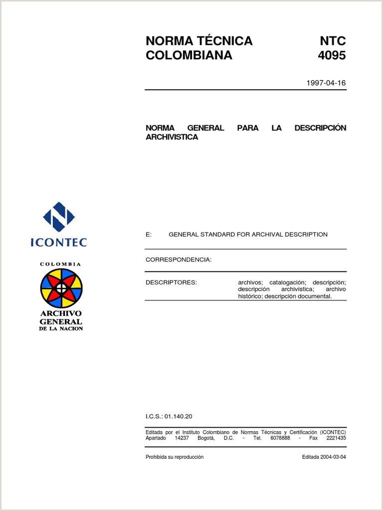 Norma Técnica NTC Colombiana 4095 Norma General Para La