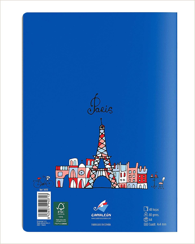 Cuadernos Camale³n A4 Grapa cuadrcula 4x4 48 Hojas dise±o Francés Serie árbol