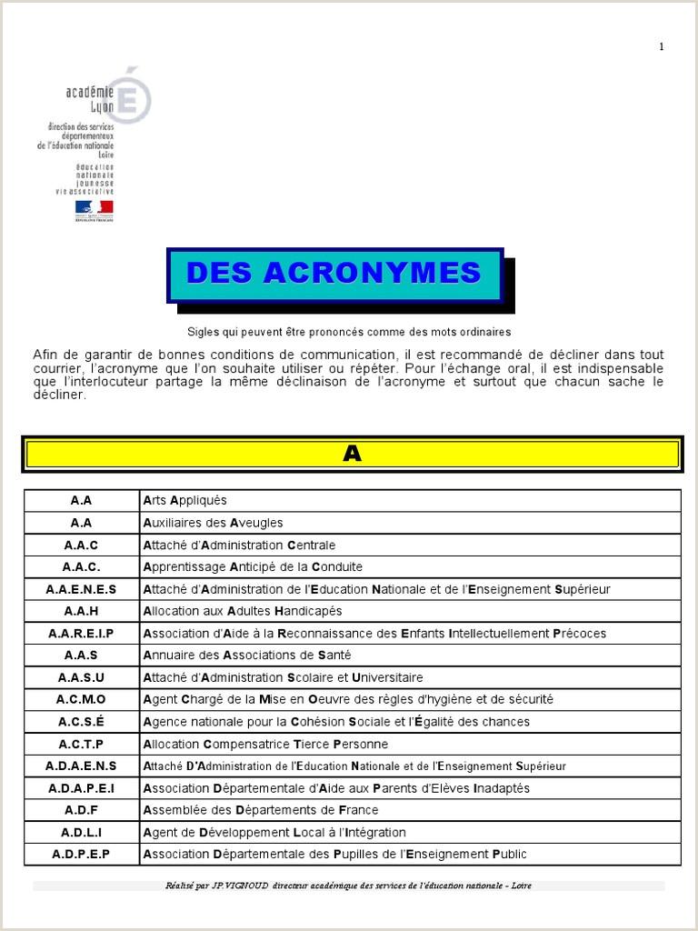 Annexe Les Sigles Et Acronymes de l Education Nationale