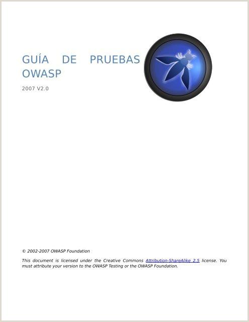 Formato De Hoja De Vida Internacional Gua De Pruebas Owasp V2