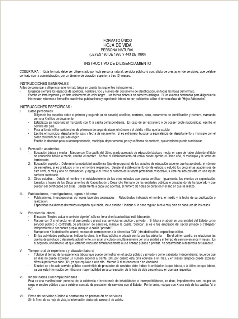 Formato De Hoja De Vida Ley 190 Hoja De Vida Vctor Fl³rez