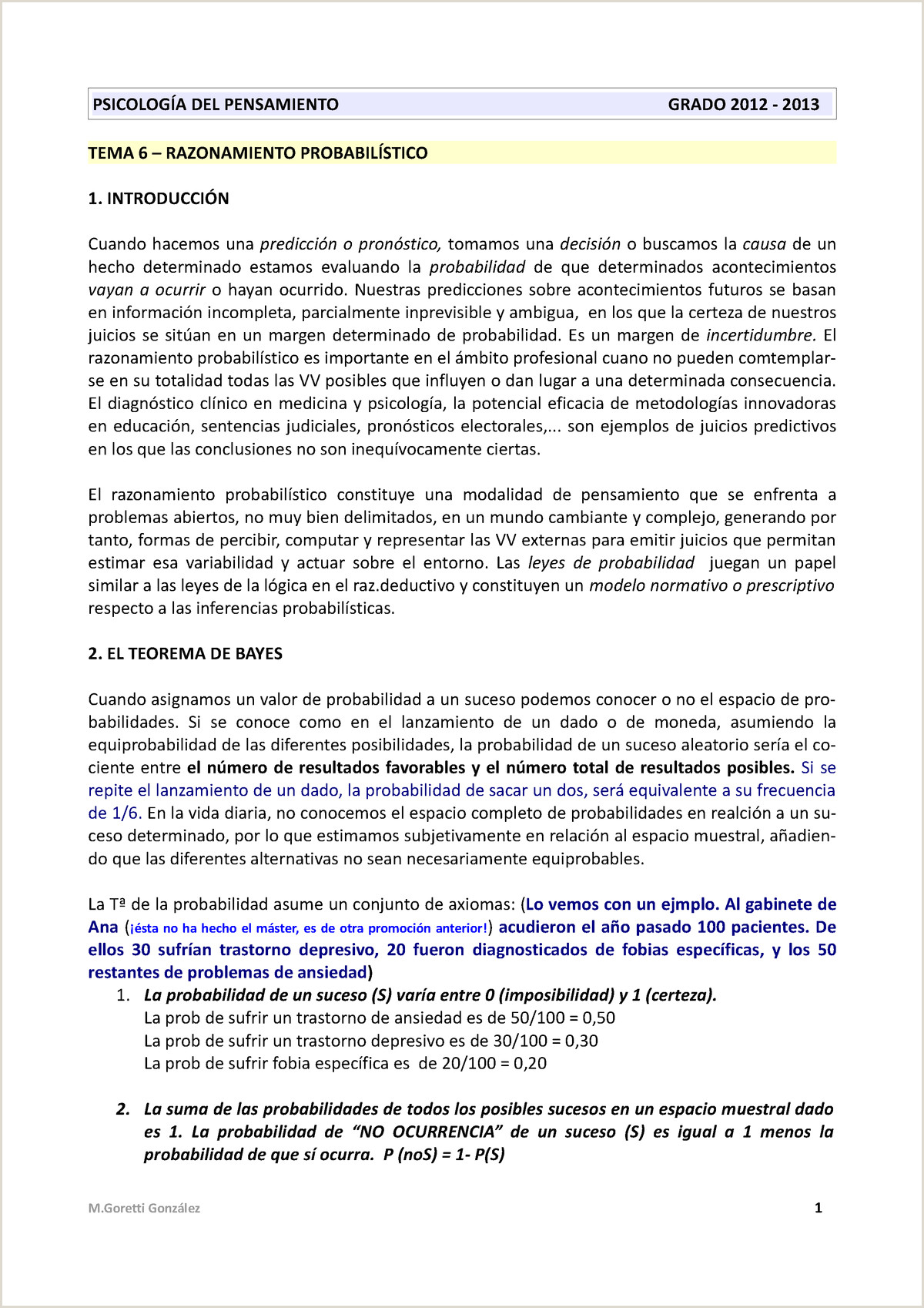 Formato De Hoja De Vida Llamativo 6 T6 Goretti Razonamiento Probabilstico
