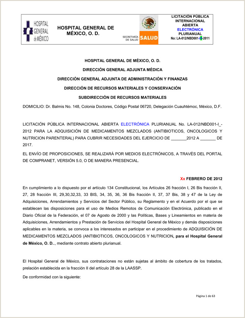 documento solicitado Hospital General de México