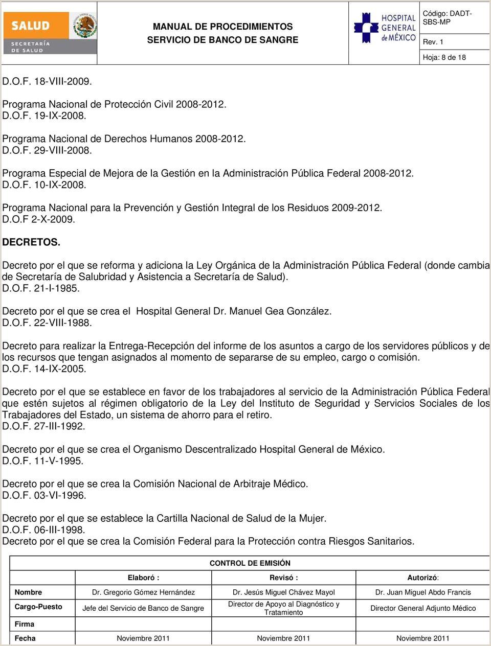 HOSPITAL GENERAL DE MéXICO O D MANUAL DE PROCEDIMIENTOS