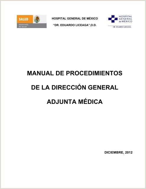 Manual de Procedimientos de la Direcci³n General Adjunta Médica