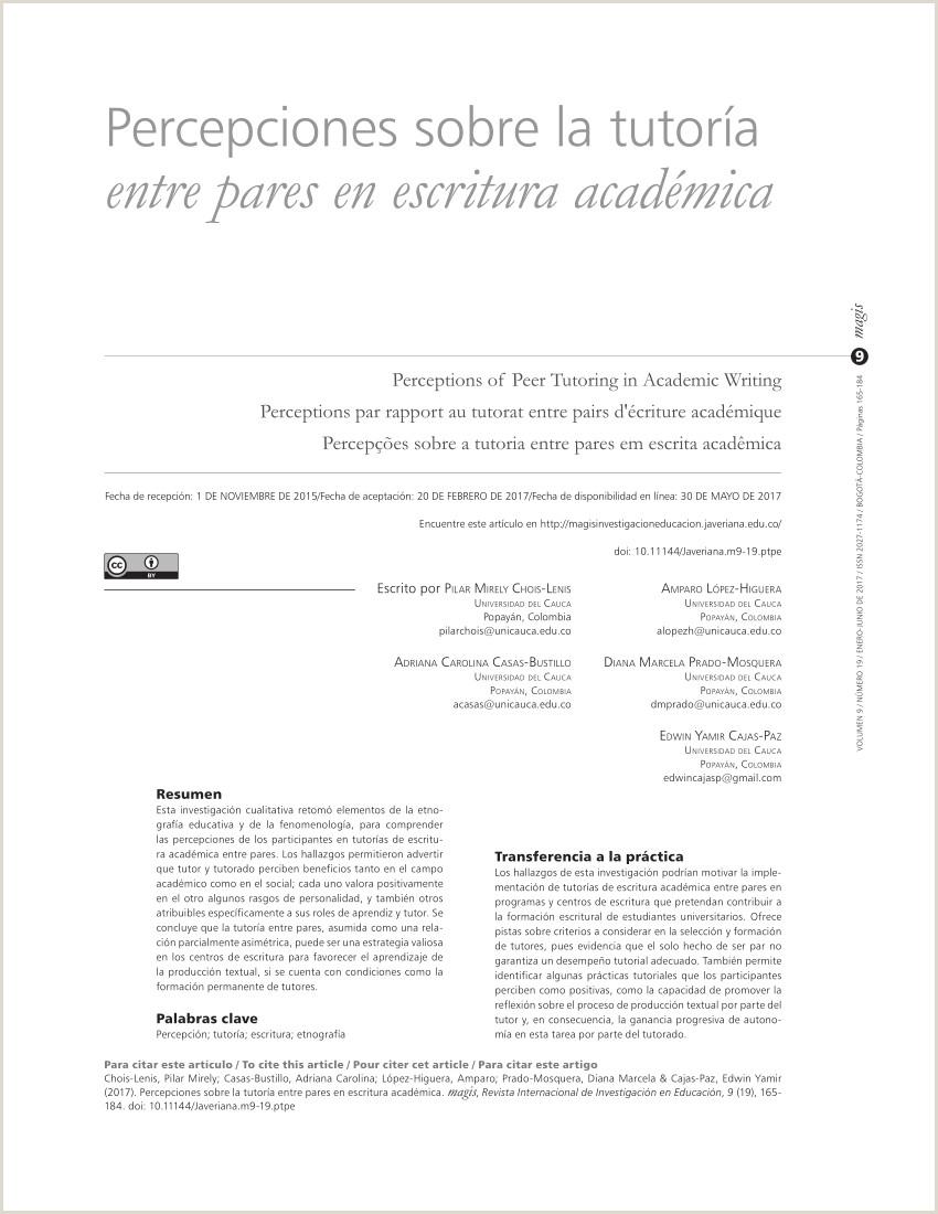 PDF Percepciones sobre la tutora entre pares en escritura