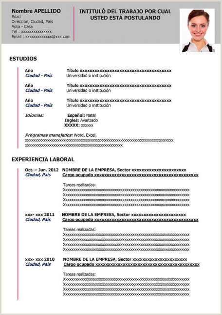 Formato De Hoja De Vida Para Imprimir Ejemplos De Hoja De Vida Modernos En Word Para Descargar