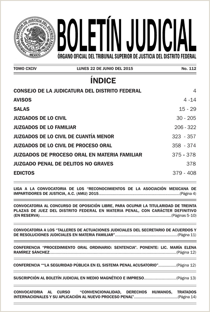aviso Poder Judicial del Distrito Federal
