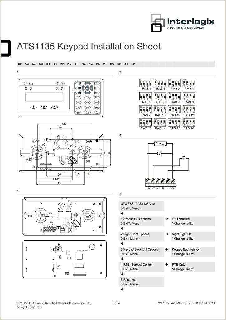 Formato De Hoja De Vida Unico ats1135 Keypad Installation Sheet