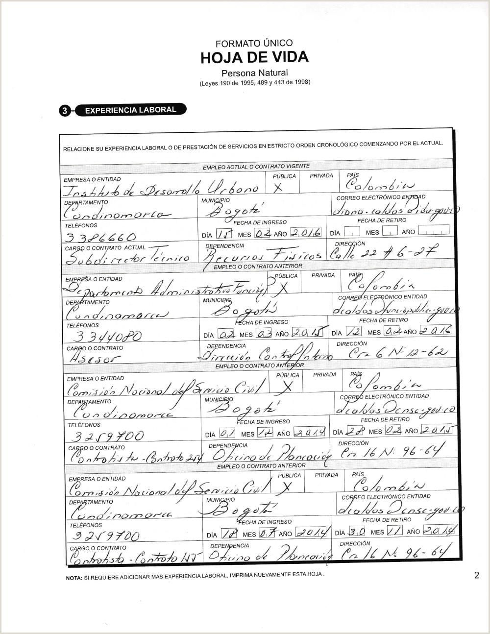 Formato Hoja De Hoja De Vida Funcion Publica Documentos Funci³n Pºblica