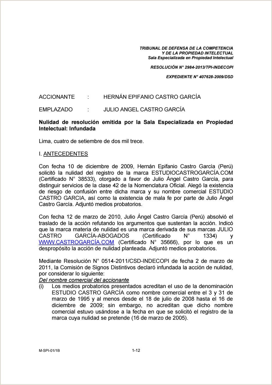 Formato Hoja De Vida Abogado Caso De Marca Estudio Castro Garca Abogados Indecopi by
