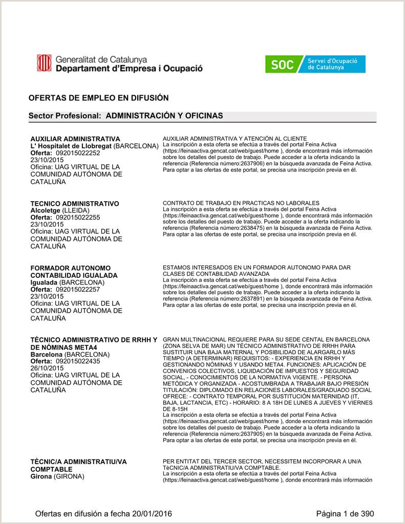 ertas difundidas por el Servicio Pºblico de Empleo de CATALU'A