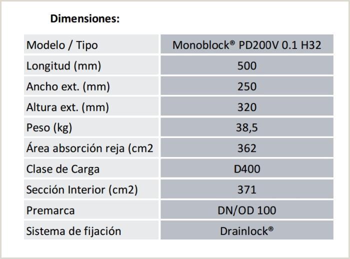 CANAL DE INSPECCION MONOBLOCK PD200V H 32 D 400 REJA EXTRAIBLE
