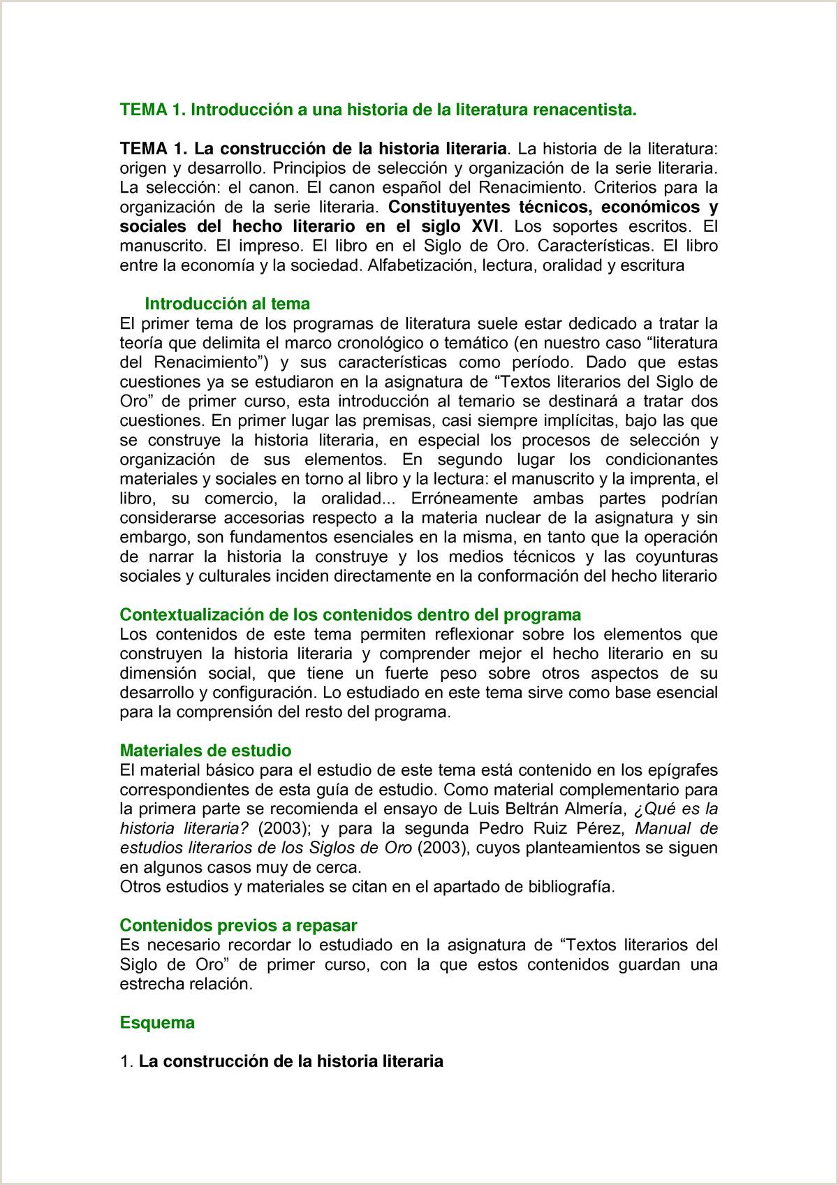 TEMA 1N Apuntes 1 Literatura Espa±ola del Renacimiento
