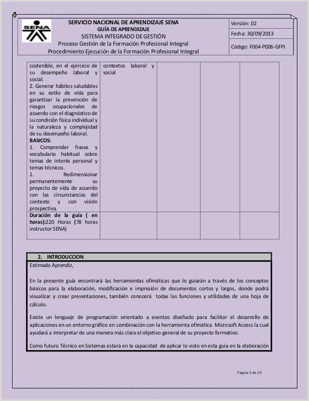 Formato Hoja De Vida Aprendiz Sena Guia Ofimatica
