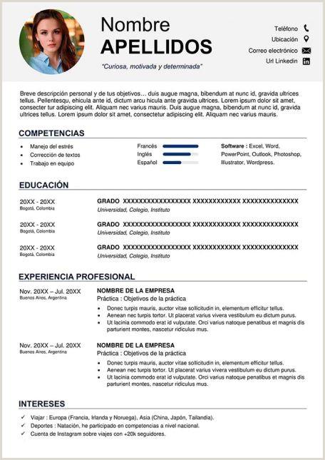 Formato Hoja De Vida Bachiller Sin Experiencia Ejemplos De Hoja De Vida Modernos En Word Para Descargar