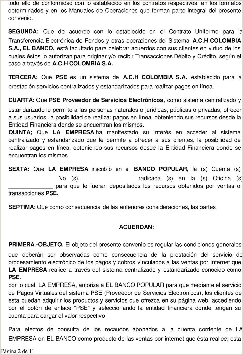 Formato Hoja De Vida Banco Popular Convenio De Adicion Al Contrato De Cuenta Corriente