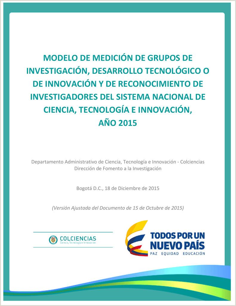 Formato Hoja De Vida Cvlac Colciencias Modelo De Medici³n De Grupos De Investigaci³n