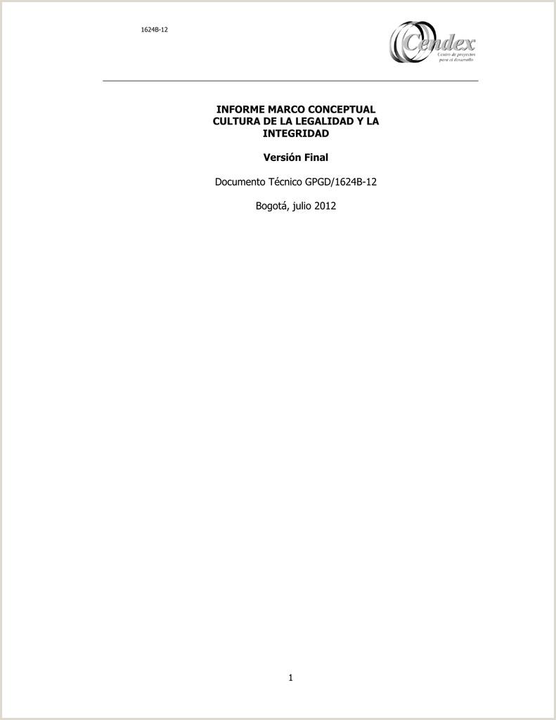 INFORME MARCO CONCEPTUAL CULTURA DE LA LEGALIDAD Y