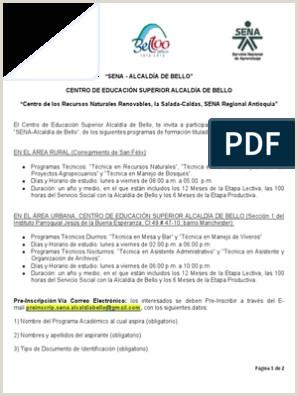 Formato Hoja De Vida Del Sena Erta Programas Técnicos Sena Alcalda De Bello