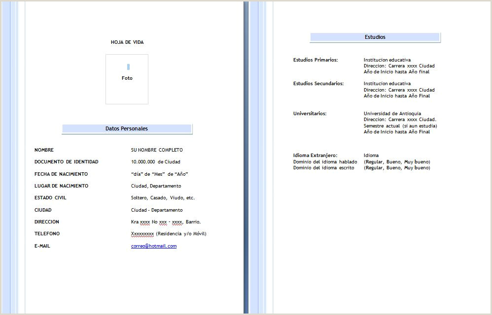 Formato Hoja De Vida Editable formato Hoja De Vida 2015 Mundonets Hoja De Vida
