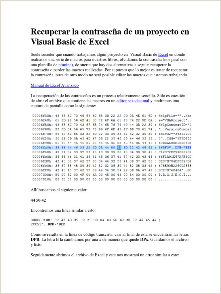 Formato Hoja De Vida Excel Recuperar La Contrase±a De Un Proyecto En Visual Basic De
