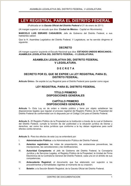 ley registral para el distrito federal Asamblea
