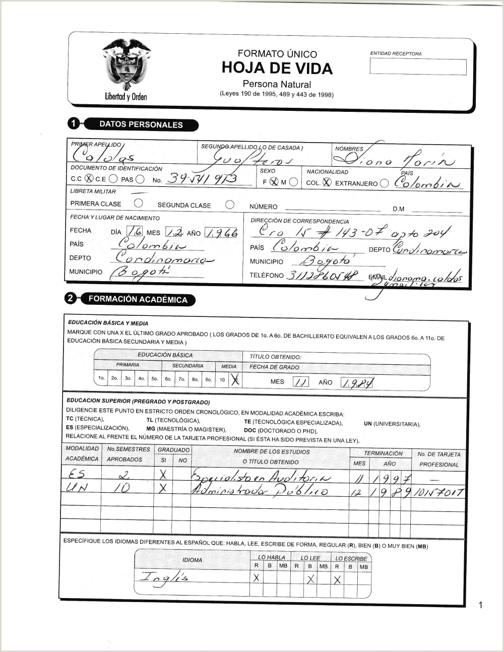 Formato Hoja De Vida Gestion Publica Documentos Funci³n Pºblica