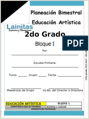 2do Grado Bloque 1 Educaci³n Art­stica